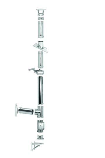 Edelstahlkamin Bausatz - 2,7m Höhe / Ø150 mm - doppelwandig - Tecnovis TEC-DW-Standard