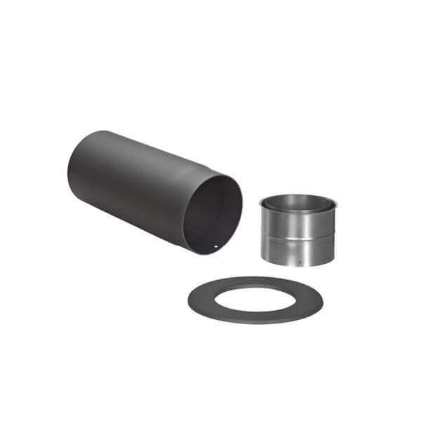 Ofenrohr - Winkelrohr SET schwarz für Anschluss hinten - Tecnovis TEC-Stahl