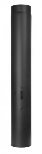Ofenrohr - Längenelement 1000 mm mit Drosselklappe und Tür schwarz - Tecnovis TEC-Stahl