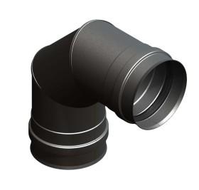 Pelletofenrohr - Winkel 90° starr mit Doppelmuffe schwarz - Jeremias Pellet-Line