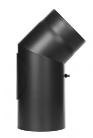 Ofenrohr - Winkel 45° mit Tür schwarz - Tecnovis TEC-Stahl
