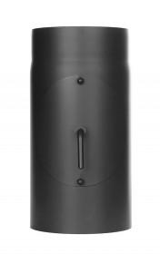 Ofenrohr - Längenelement 300 mm mit Drosselklappe und Tür schwarz - Tecnovis TEC-Stahl