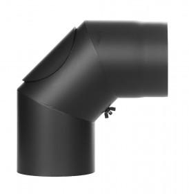 Ofenrohr - Winkel 90° mit Tür schwarz - Tecnovis TEC-Stahl