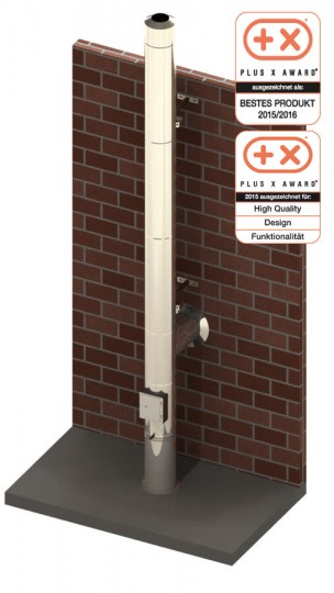 Edelstahlkamin Bausatz Ø 150 mm - doppelwandig - Tecnovis TEC-DW-Design