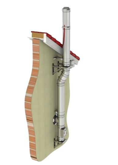 Edelstahlkamin Bausatz Ø 200 mm - doppelwandig - Tecnovis TEC-DW-Standard