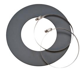 Rosette mit 2 Schlauchklemmen für Alu-Isolierflexrohr - CB-tec