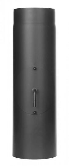 Ofenrohr - Längenelement 500 mm mit Drosselklappe und Tür schwarz - Tecnovis TEC-Stahl