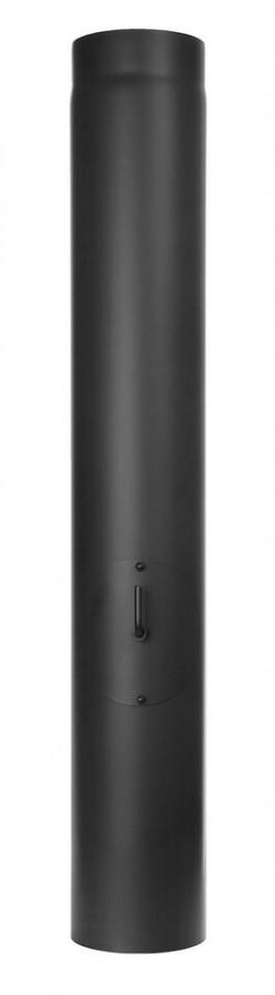 Ofenrohr FERRO1450 - Längenelement 1000 mm schwarz mit Drosselklappe