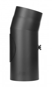 Ofenrohr - Winkel 15° mit Tür schwarz - Tecnovis TEC-Stahl