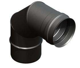 Pelletofenrohr - Winkel 90° starr - schwarz lackiert - Jeremias Pellet-Line