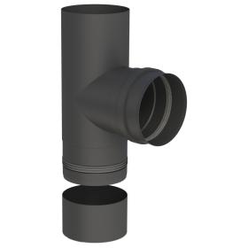 Pelletofenrohr - T-Anschluss 90° mit abnehmbarer Kondensatschale - schwarz lackiert - Tecnovis TEC-PELLET