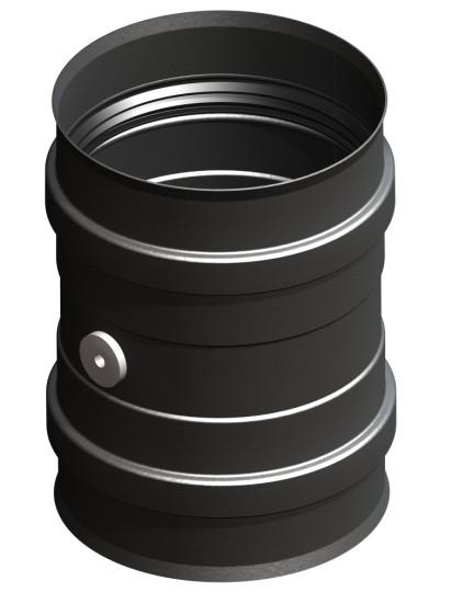 Kesselanschluss schwarz mit Doppelmuffe inkl. Messstutzen