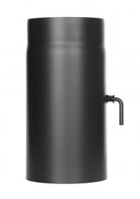 Längenelement 300 mm mit Drosselklappe schwarz - Ofenrohr - Tecnovis TEC-Stahl