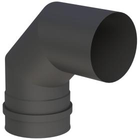 Pelletofenrohr - Winkel 90° starr mit Doppelmuffe schwarz - Tecnovis TEC-PELLET